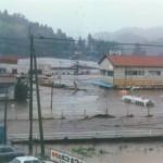 九州北部豪雨で被災する竹田文化会館写真